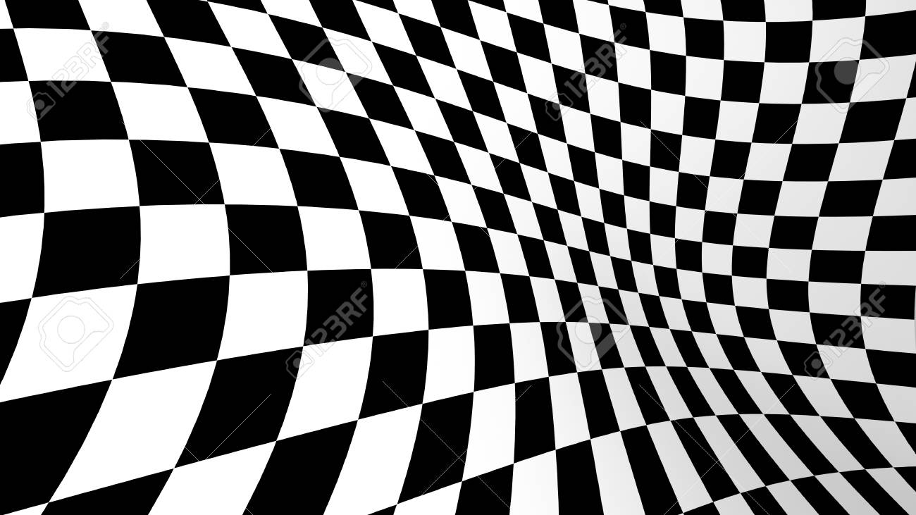 Checkered Abstract Wallpaper Black And White Fabric Illusion