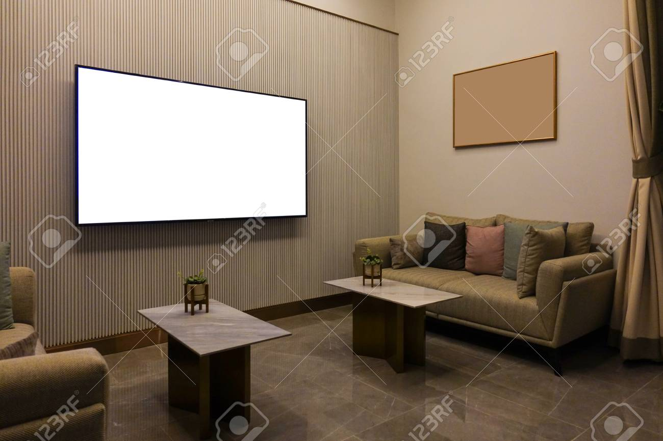 Luxury Modern Living Room With Furniture Blank Screen Tv And