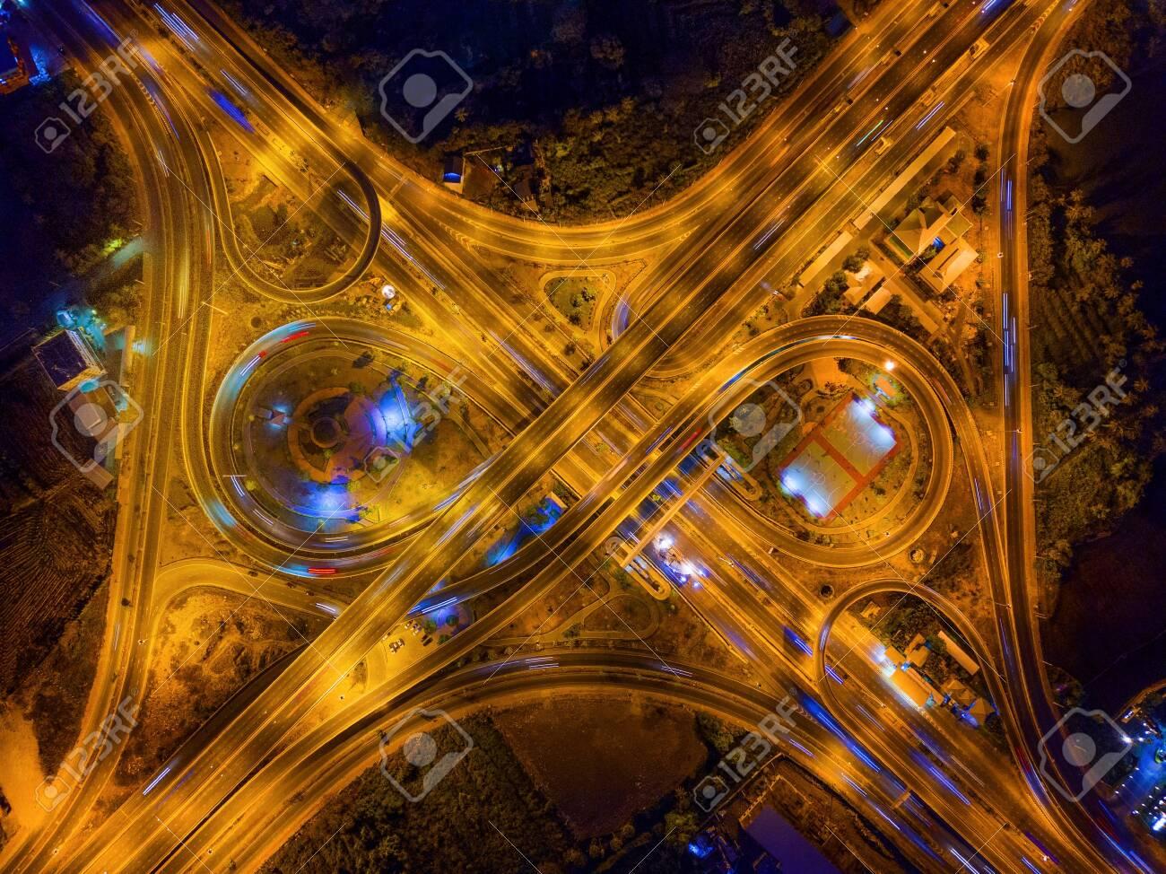 Aerial View Of Highway Junctions Bridge Roads Shape Number 8