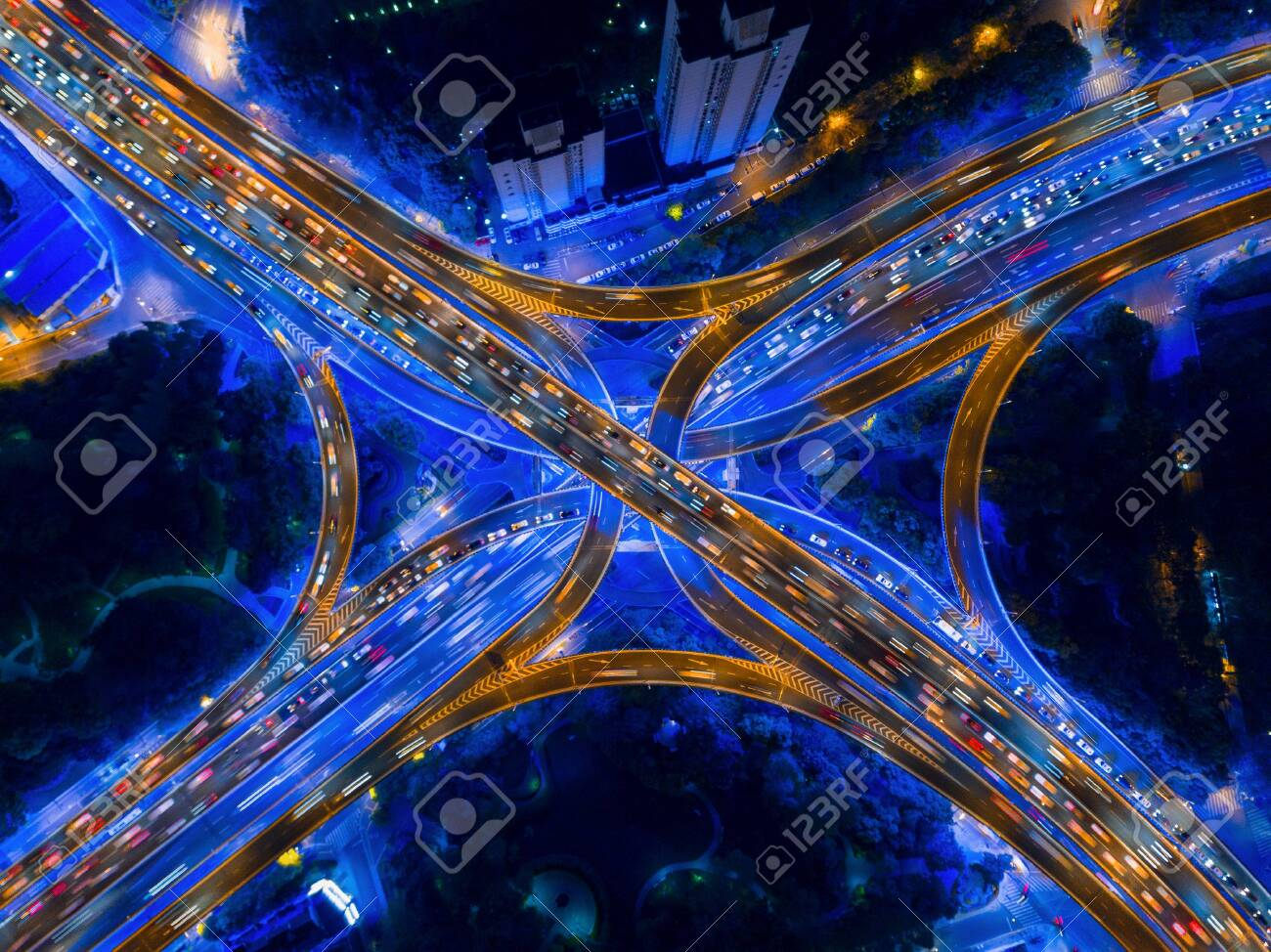 Aerial View Of Highway Junctions Shape Letter X Cross At Night