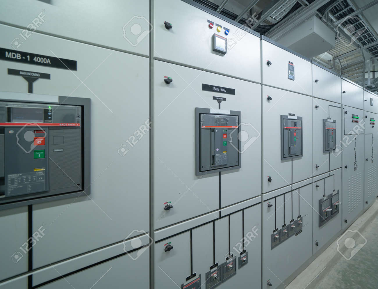 Interior of electrical room. Power energy motor machinery cabinets in control or server room, main operator station network and circuit center in industry factory manufacturing system. generator - 166725445