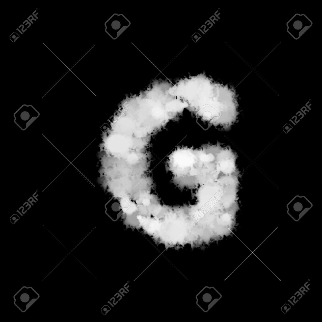 fog mist or smoke forming letter G, English alphabet text font character on black background. illustration - 171931355
