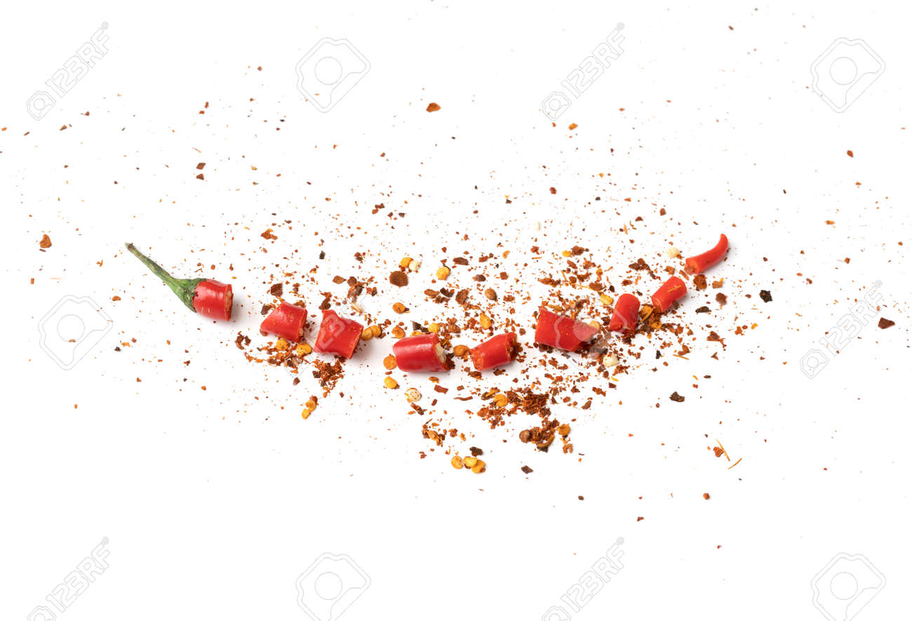 Chili peppers with sliced red chili peppers isolated on white background. Hot and spicy food. Vegetable. Seasoning ingredient. - 171981020