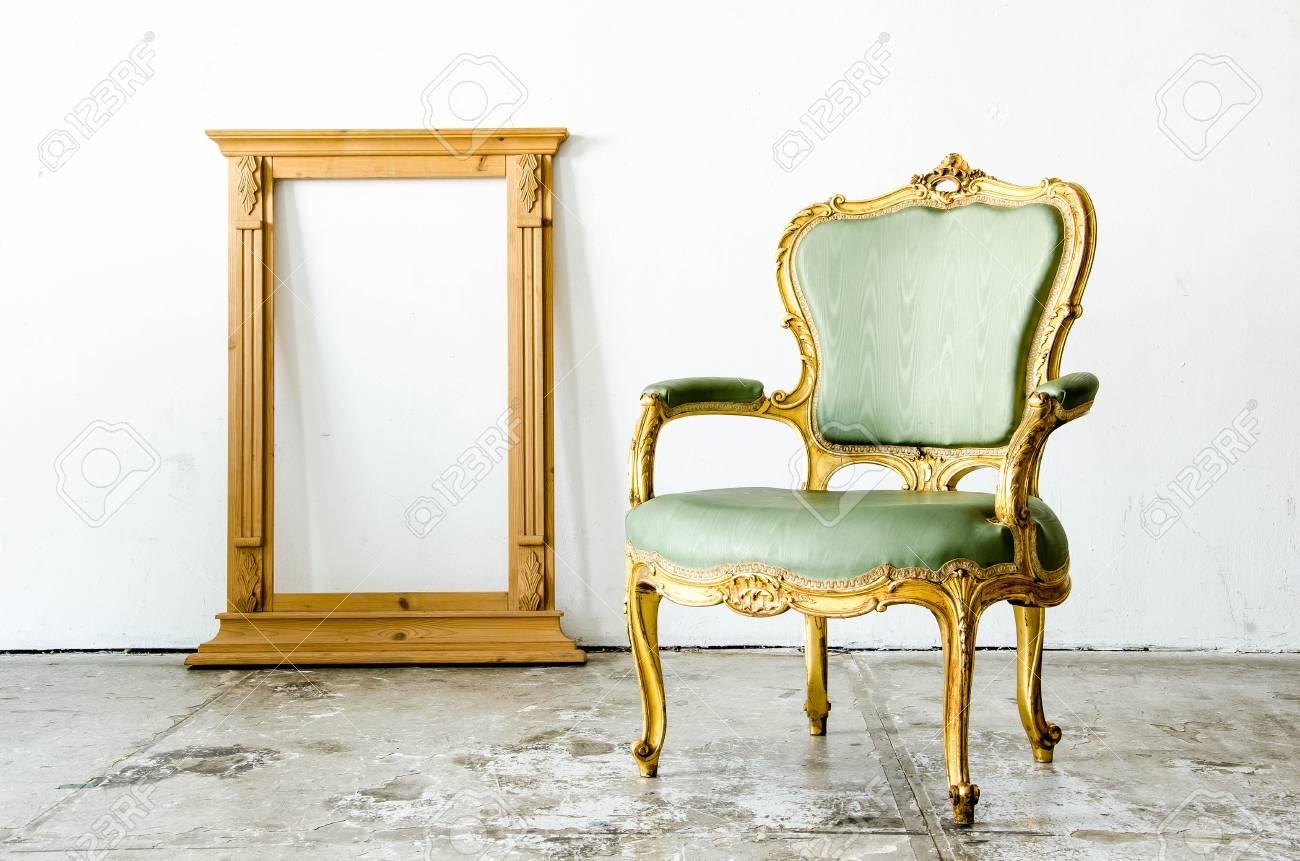 Vert Style Classique Fauteuil Canape Lit Avec Cadre En Chambre