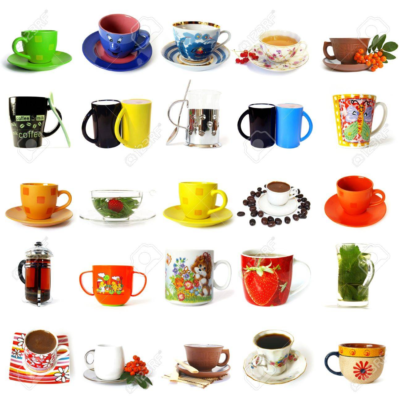 Big collection of  tea mugs and coffee cups isolated on a white background Stock Photo - 3508273