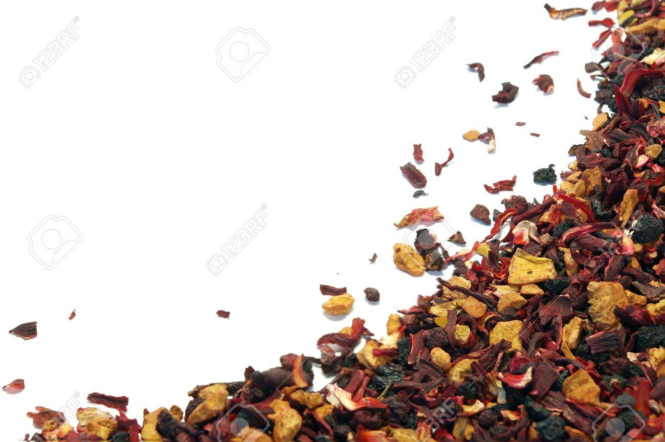 Herbal tea of raspberries, currant, mint and hibiscus background Stock Photo - 3814494