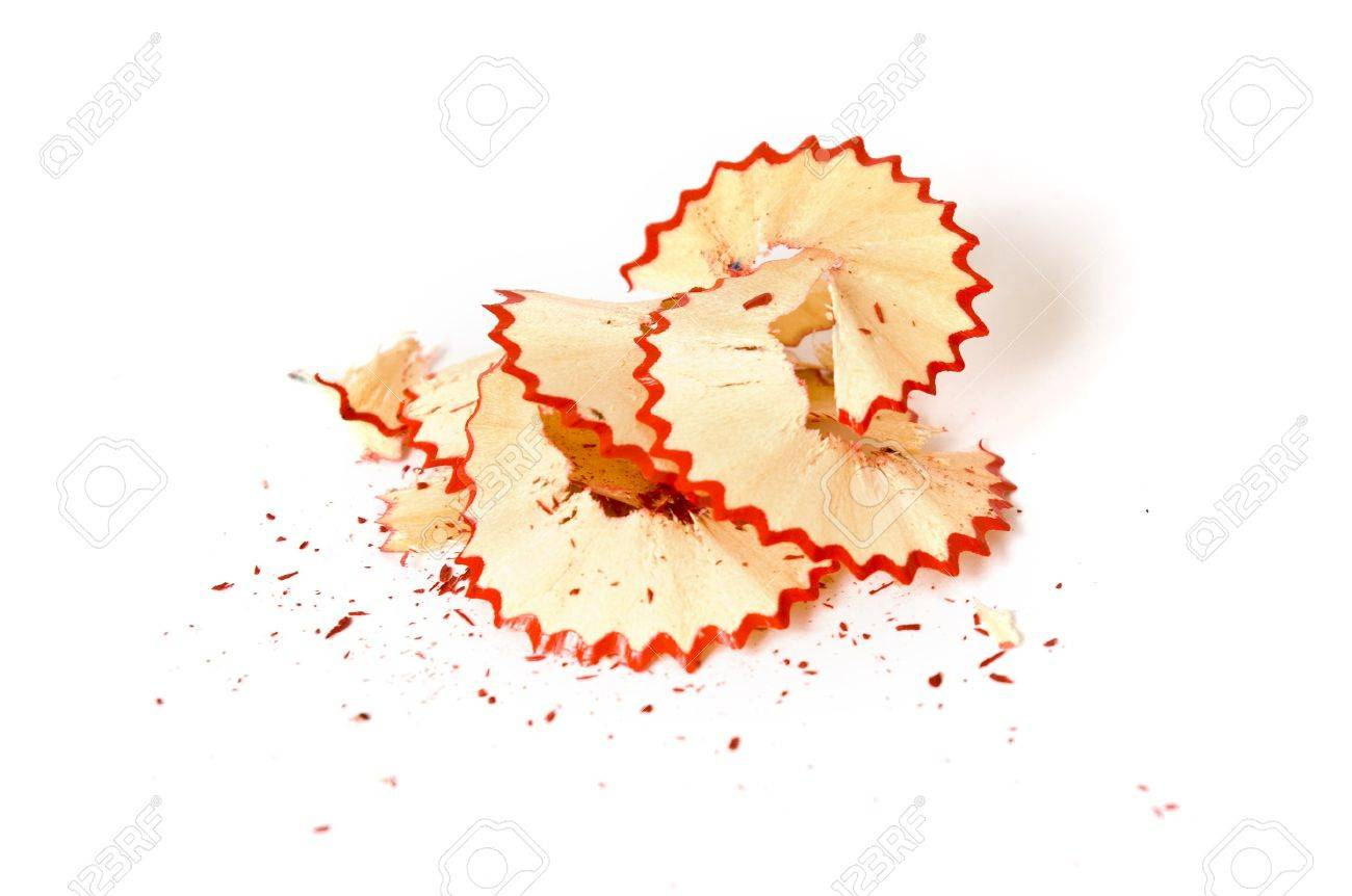 Red pencil shavings on white paper background Stock Photo - 4562828