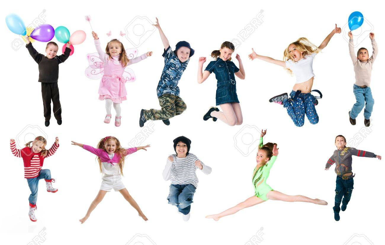 Collection photos of jumping kids Stock Photo - 9585851