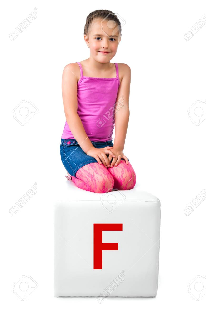 little kid on the block with letter Stock Photo - 10955627