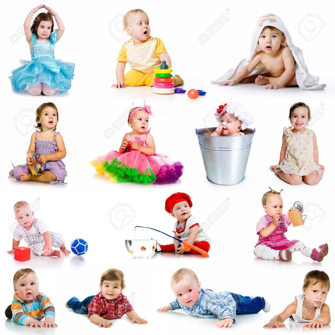 collection baby photos  on a white background Stock Photo - 13116863
