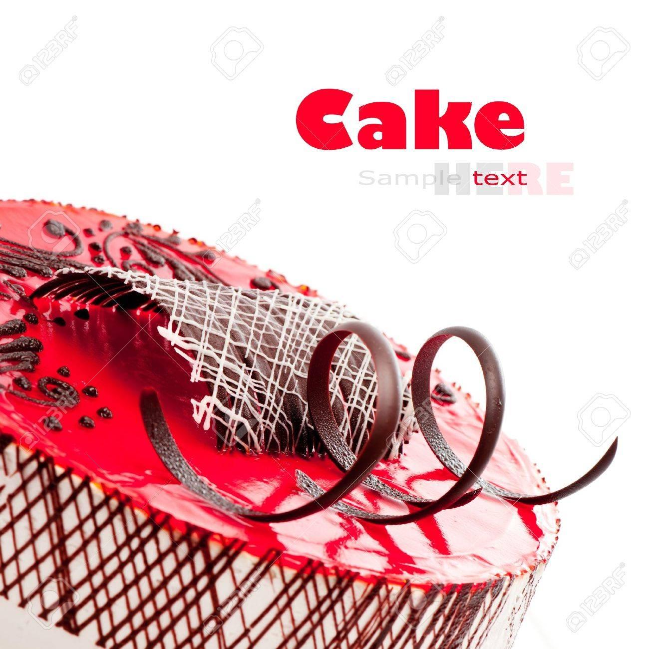 strawberry cake ower white background Stock Photo - 14308310