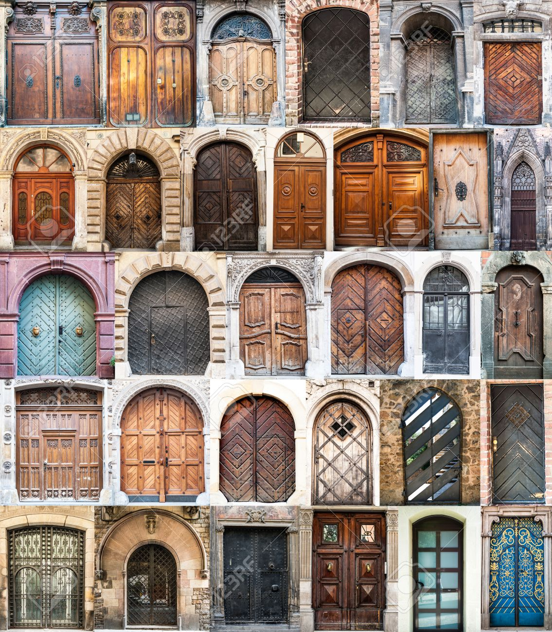 photo collage of old doors Gothic quarter in Barcelona Spain Stock Photo - 22867061 & Photo Collage Of Old Doors Gothic Quarter In Barcelona Spain Stock ... Pezcame.Com
