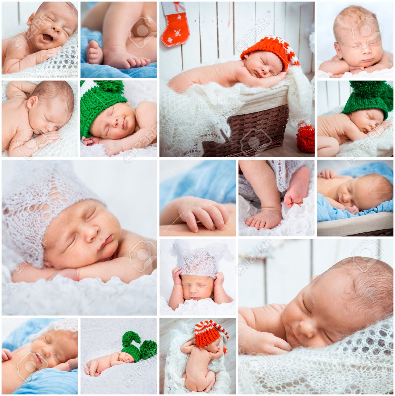 collage of a sweet newborn babies photos stock photo, picture and