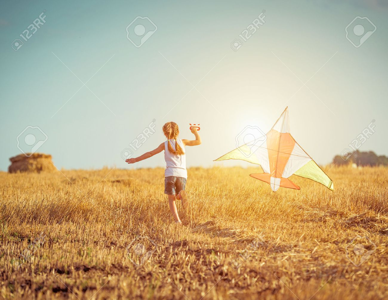 happy little girl with a kite in a field - 33466957