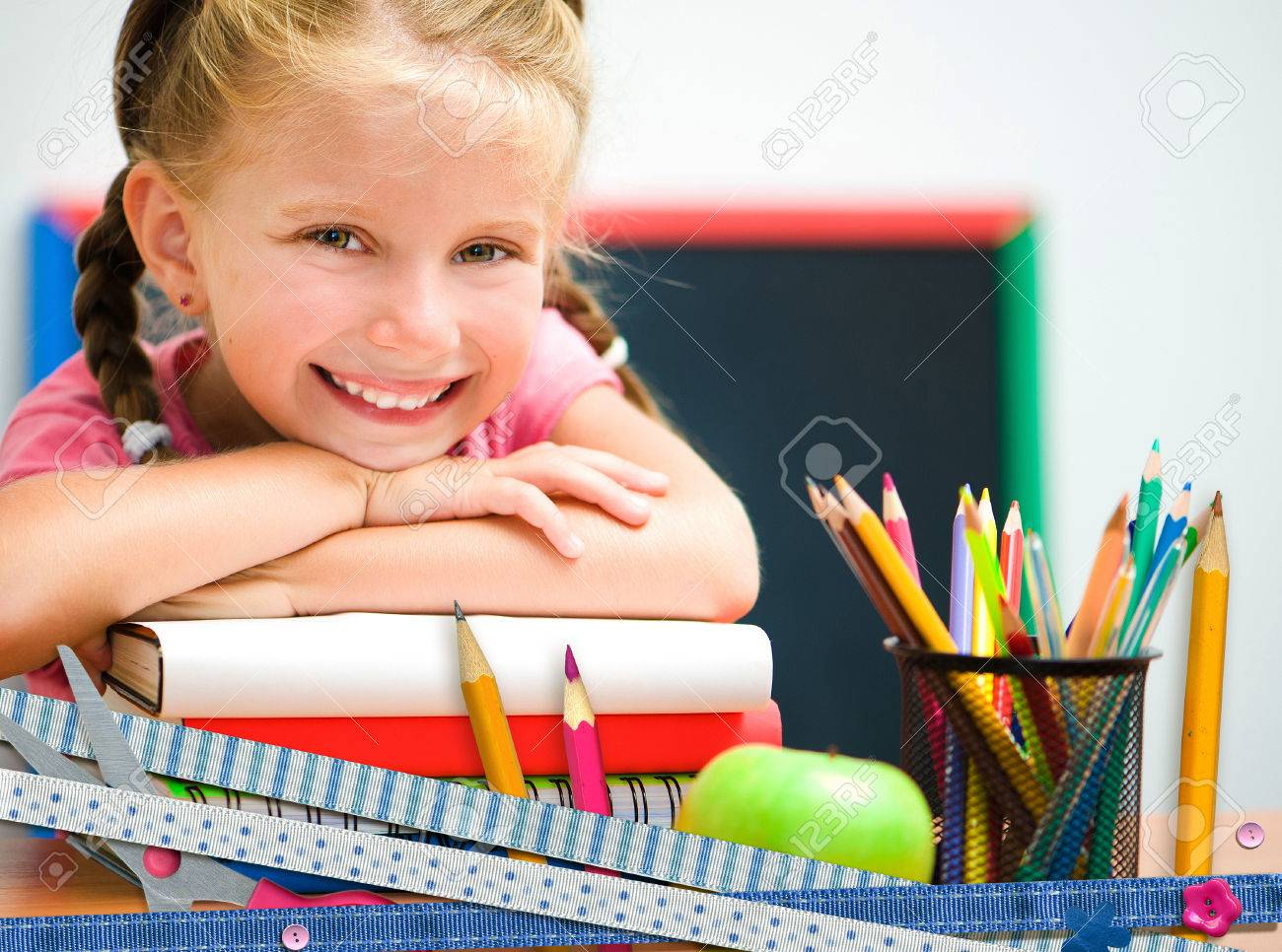 cute happy little girl on education background - 34159546
