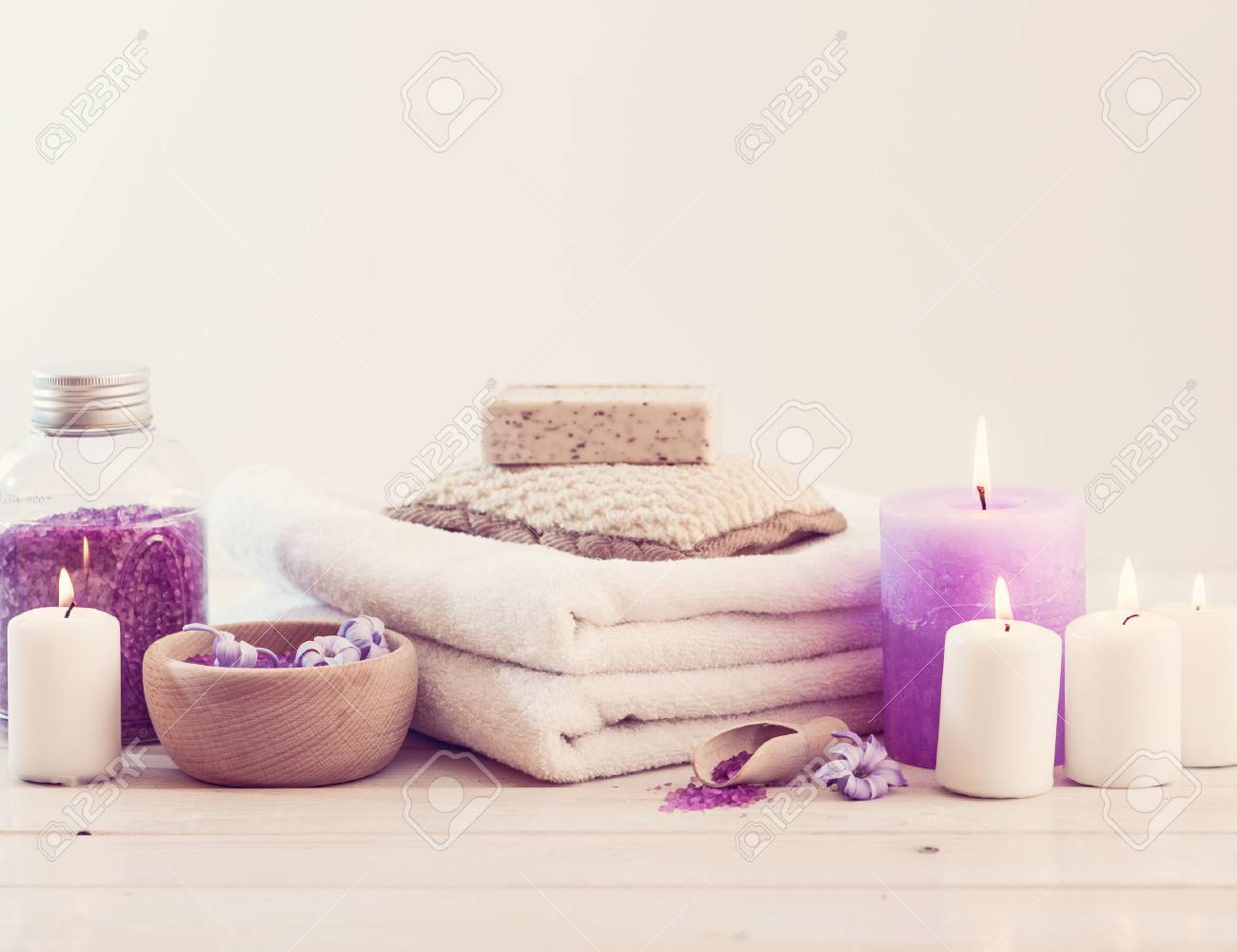 Composition of spa treatment on the white wooden table Stock Photo - 38491735
