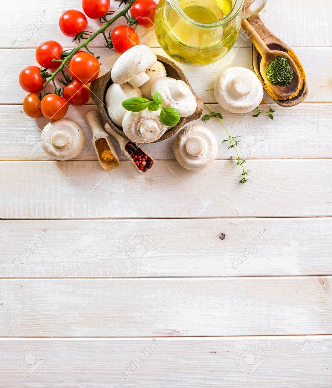 food ingredients for cooking vegetarian food on a wooden background - 39407428