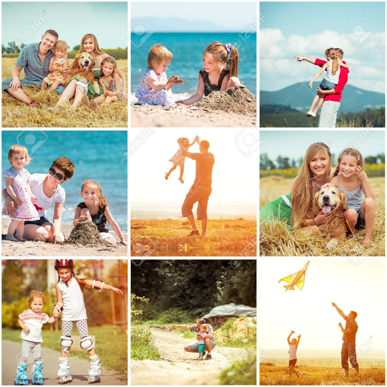 photo collage of family on vacation - 39408533