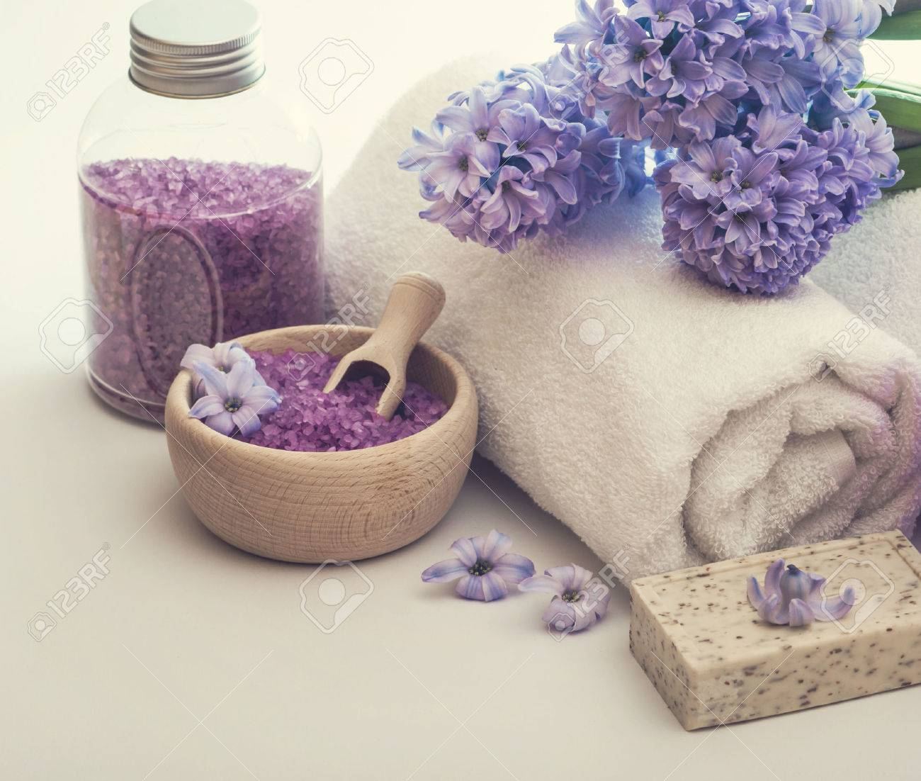 Composition of spa treatment on the white wooden table - 40465032