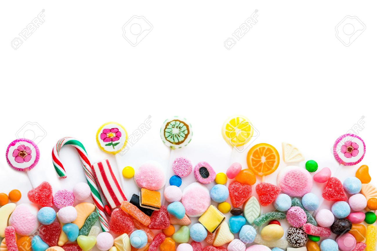 Arrangement of a variety of sweets on a white background - 40465059