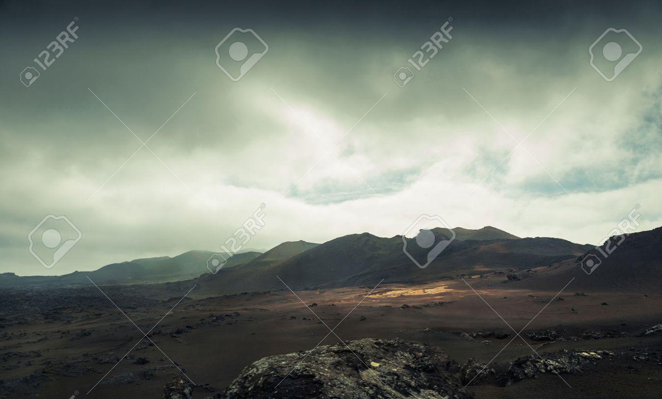 volcano and lava desert. Lanzarote, Canary islands - 40465281