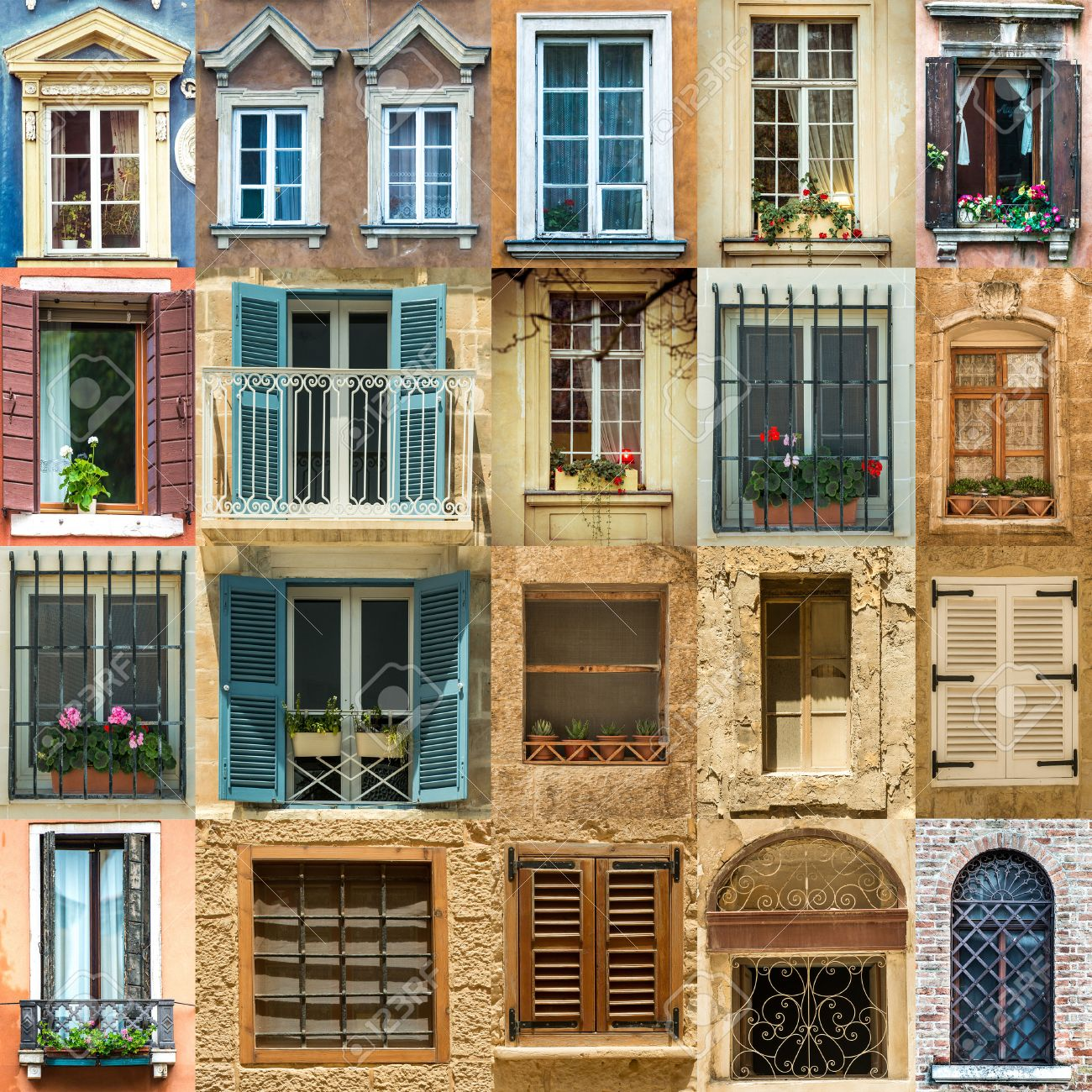 Antique Windows Collage With Antique Windows In Europe Stock Photo Picture And