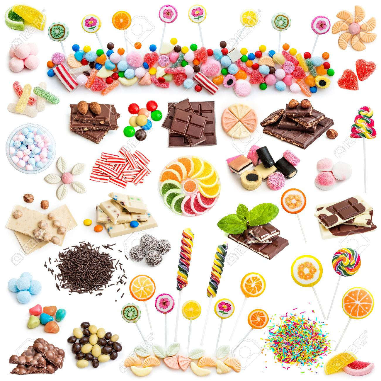 Collage of white and milk chocolate and candies isolated on white background - 41508897