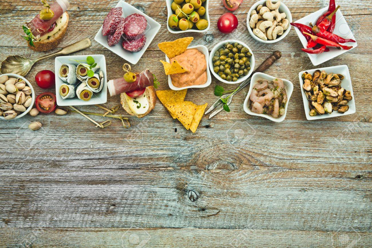 National Spanish tapas on a wooden background - 41509679