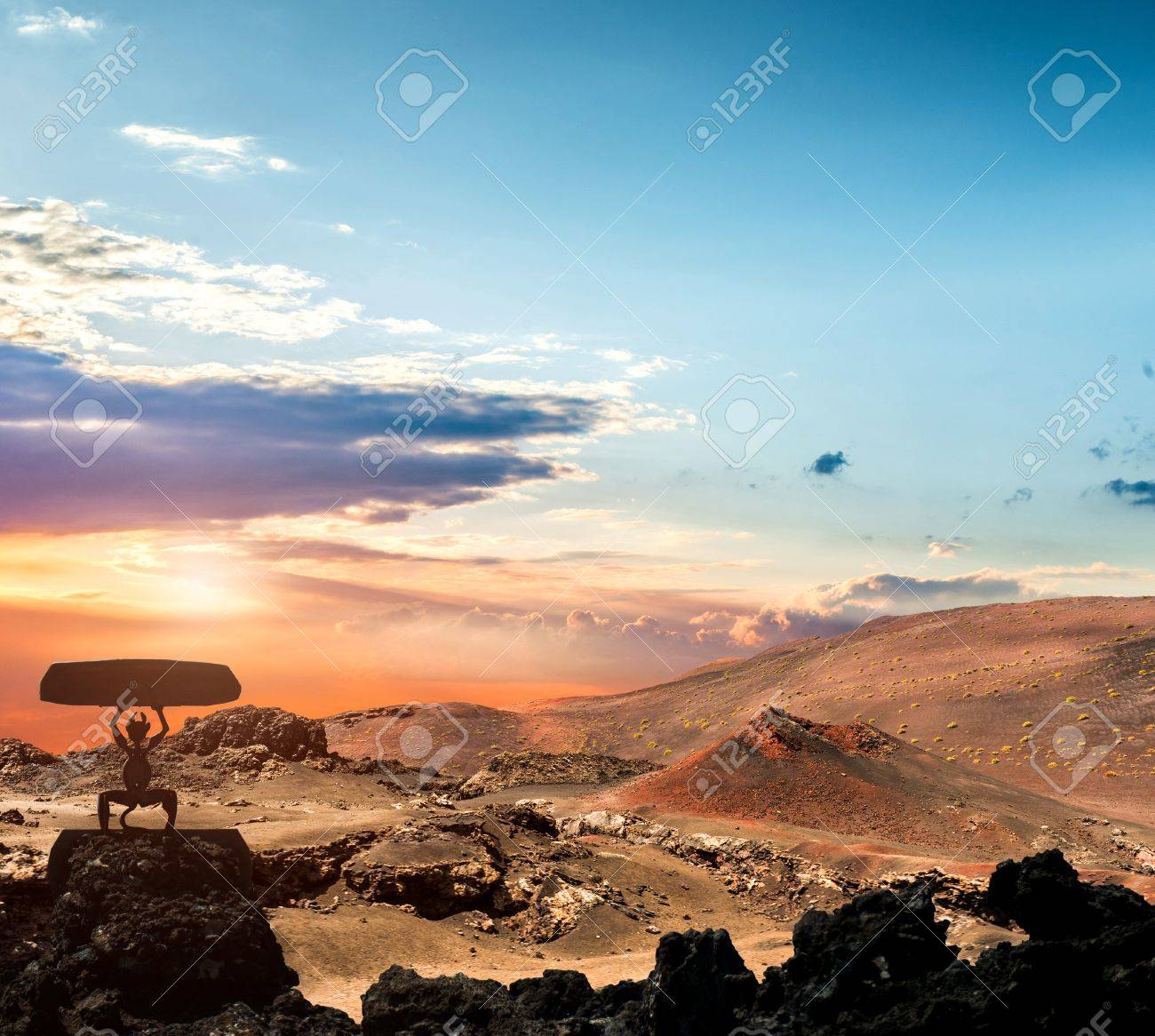 volcano and lava desert. Lanzarote, Canary islands - 41907374