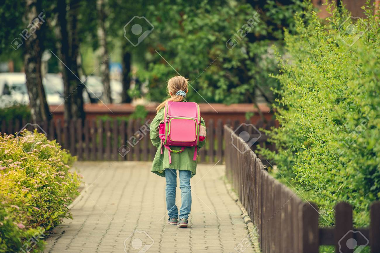 little girl with a backpack going to school. back view - 43021354