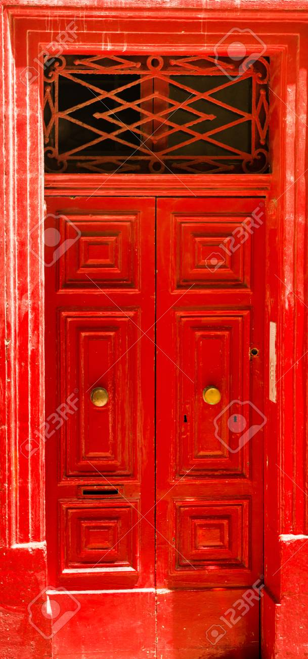 Colourful Red Front Door To House Stock Photo Picture And Royalty