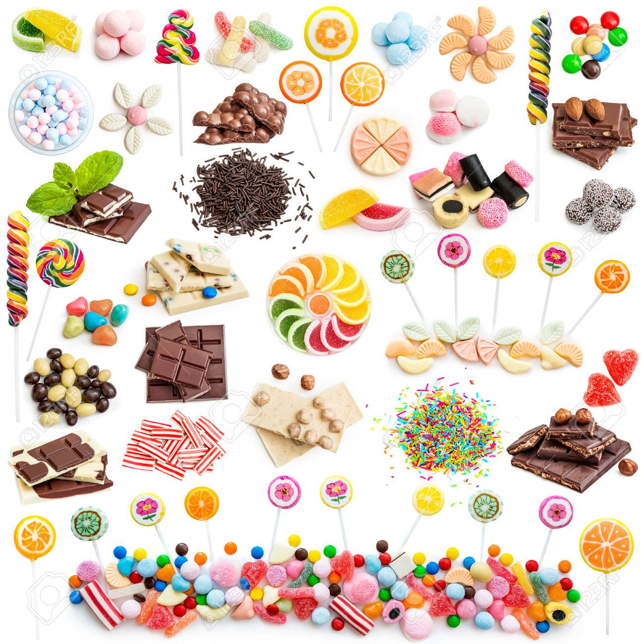 Collage of white and milk chocolate and candies isolated on white background - 44145903