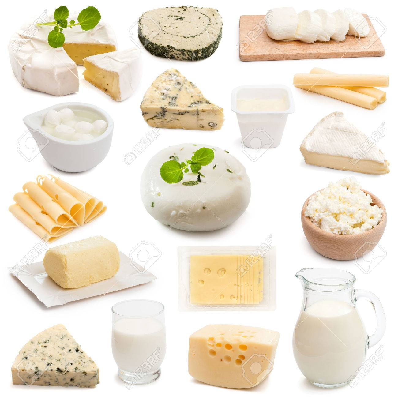 collage collection dairy products on a white background - 44145904