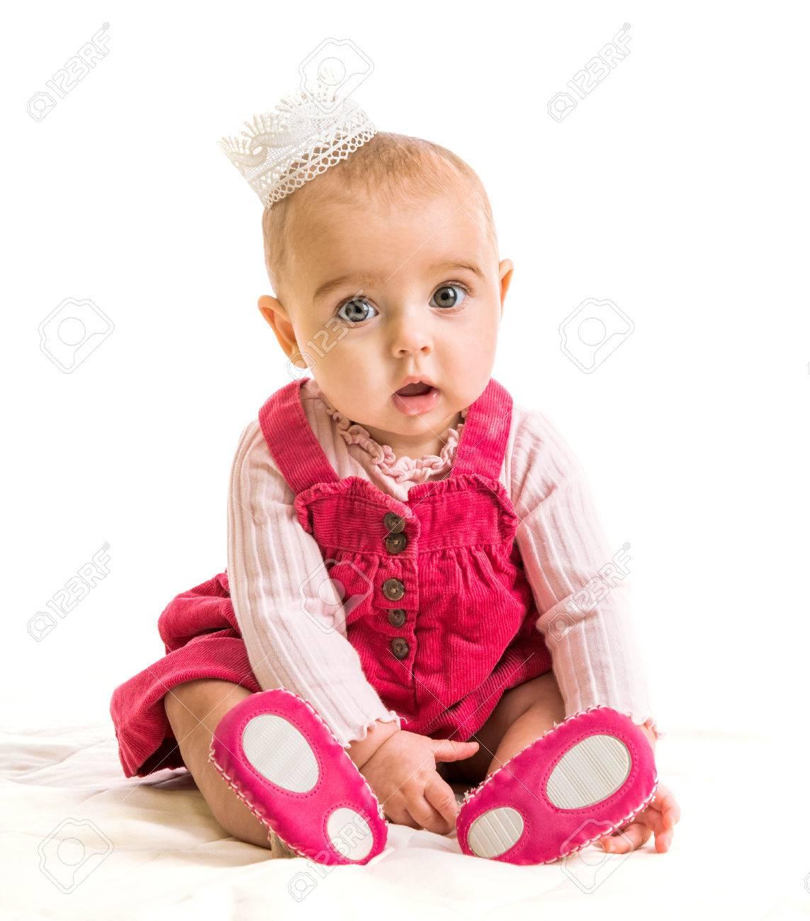 cute six-month girl in costume princess - 44147095