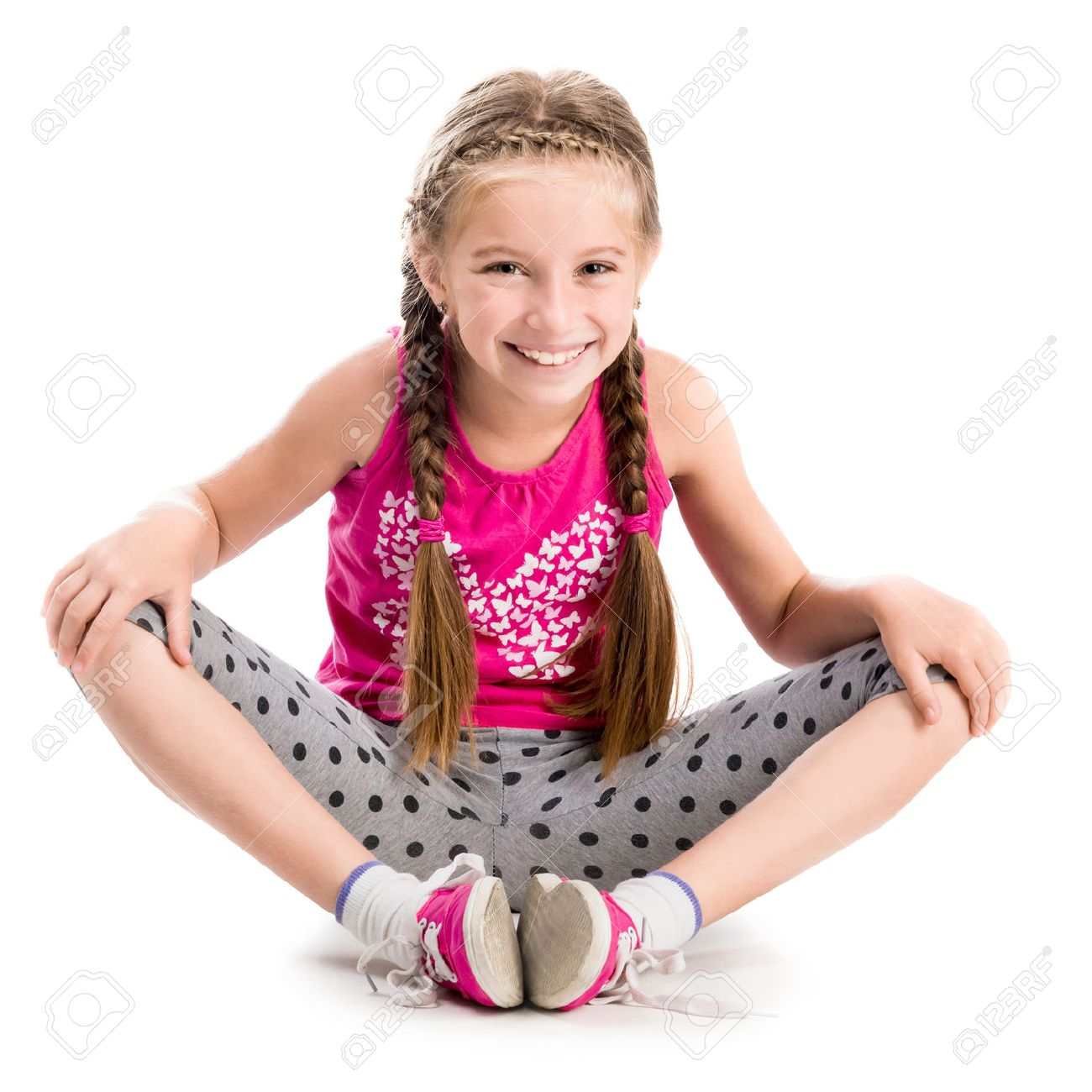 little girl doing yoga isolated on white background - 44481595