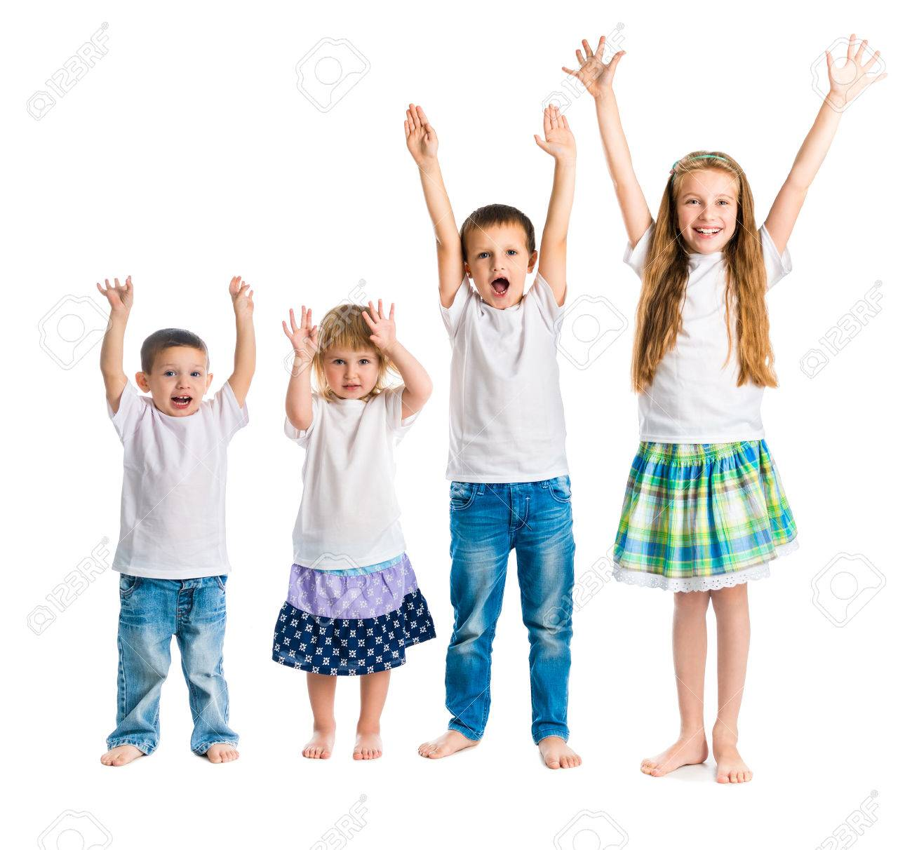 smiling children with arms up isolated on white background - 45297112