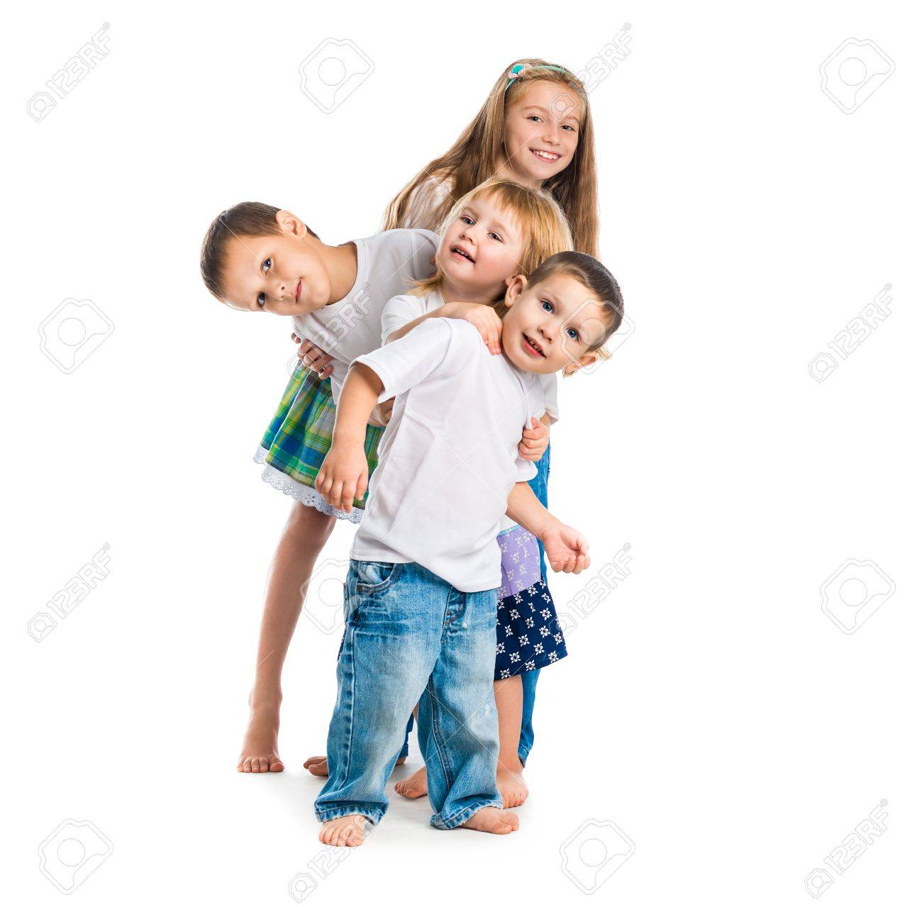smiling children with arms up isolated on white background - 45297114