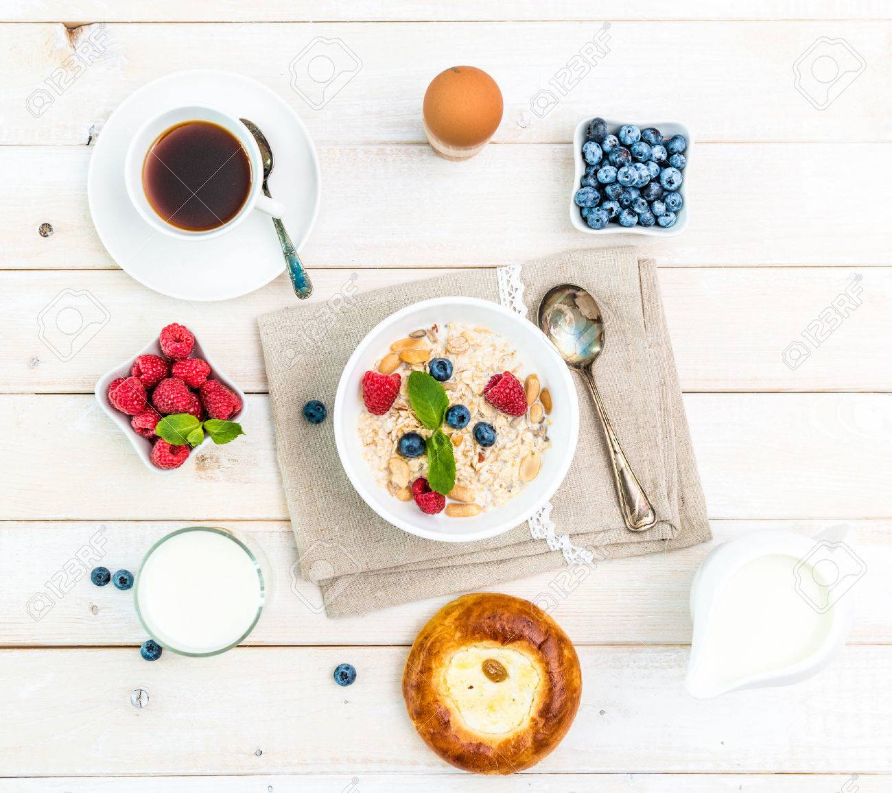healthy fitness breakfast with muesli and berries - 45297383