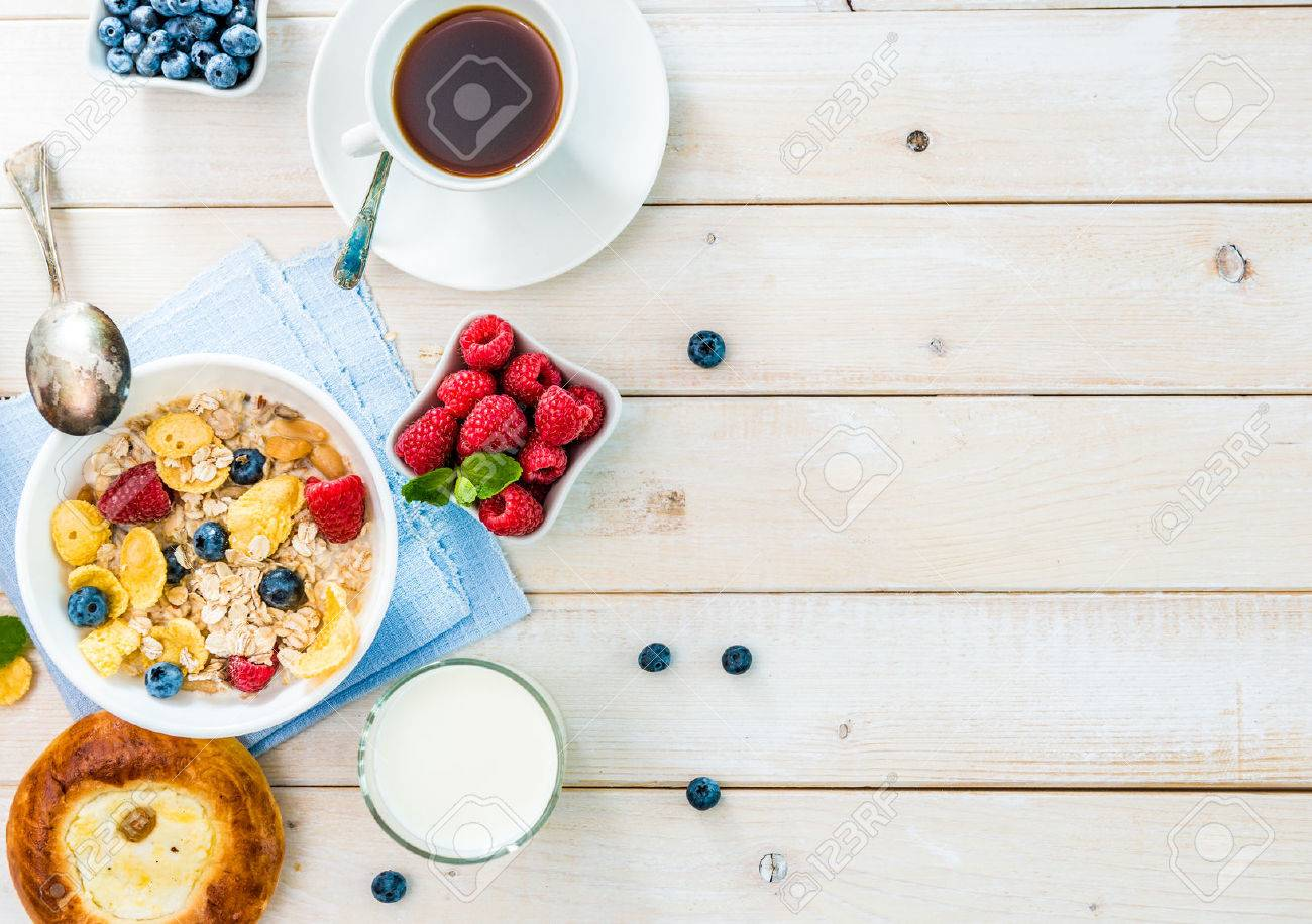 healthy breakfast with text space top view - 45297395