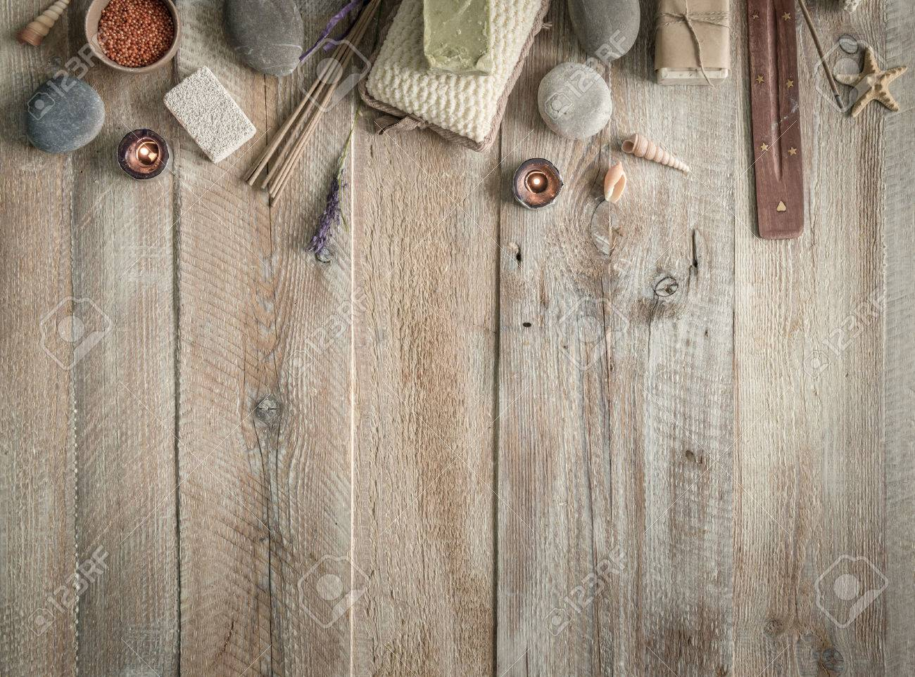 Composition of spa treatment items on the wooden table with space for text. Top view - 46655683