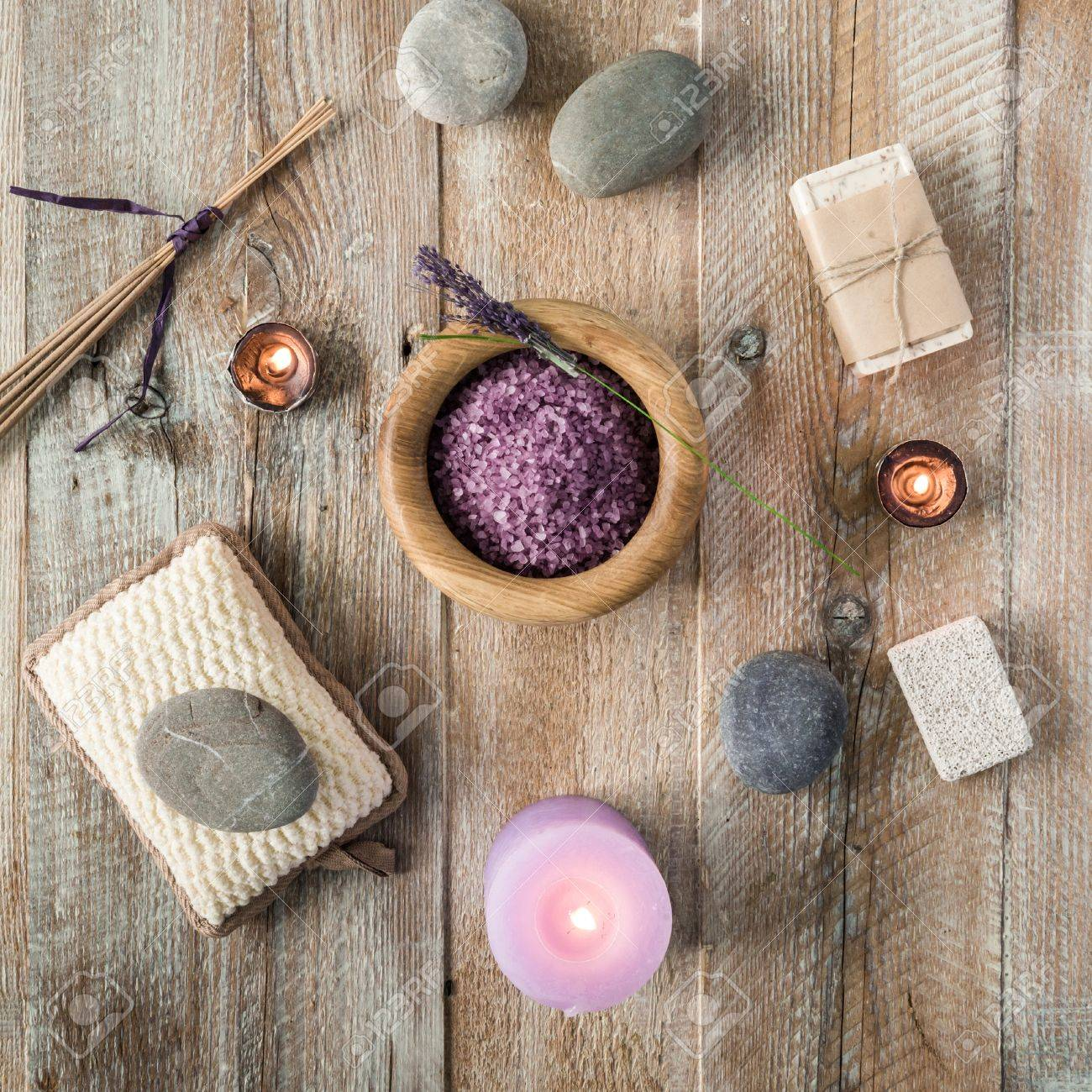 Composition of spa treatment items on the wooden table. Top view - 46655686