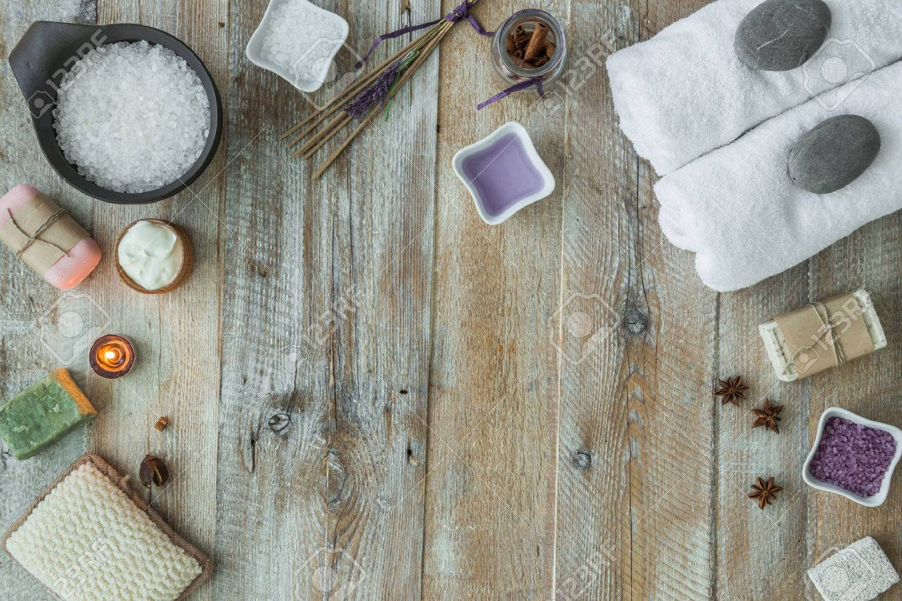 Composition of spa treatment items on the wooden table. Top view - 46655690