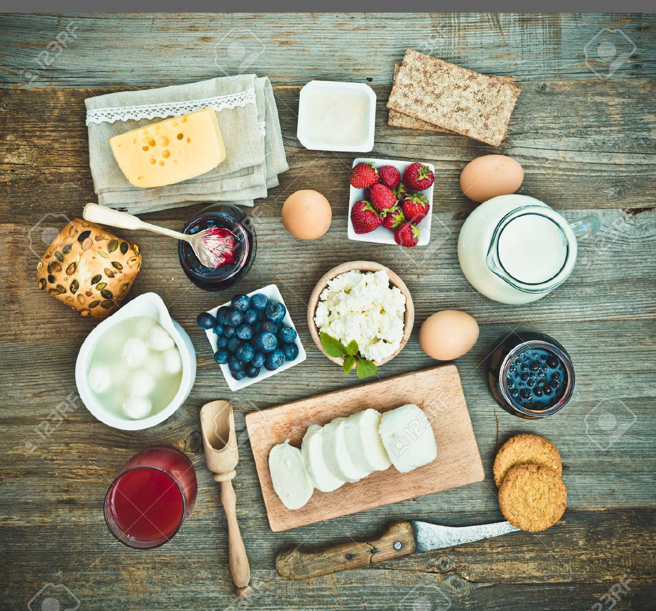 Summer breakfast. fruit and dairy products on a wooden table. top view - 47391524