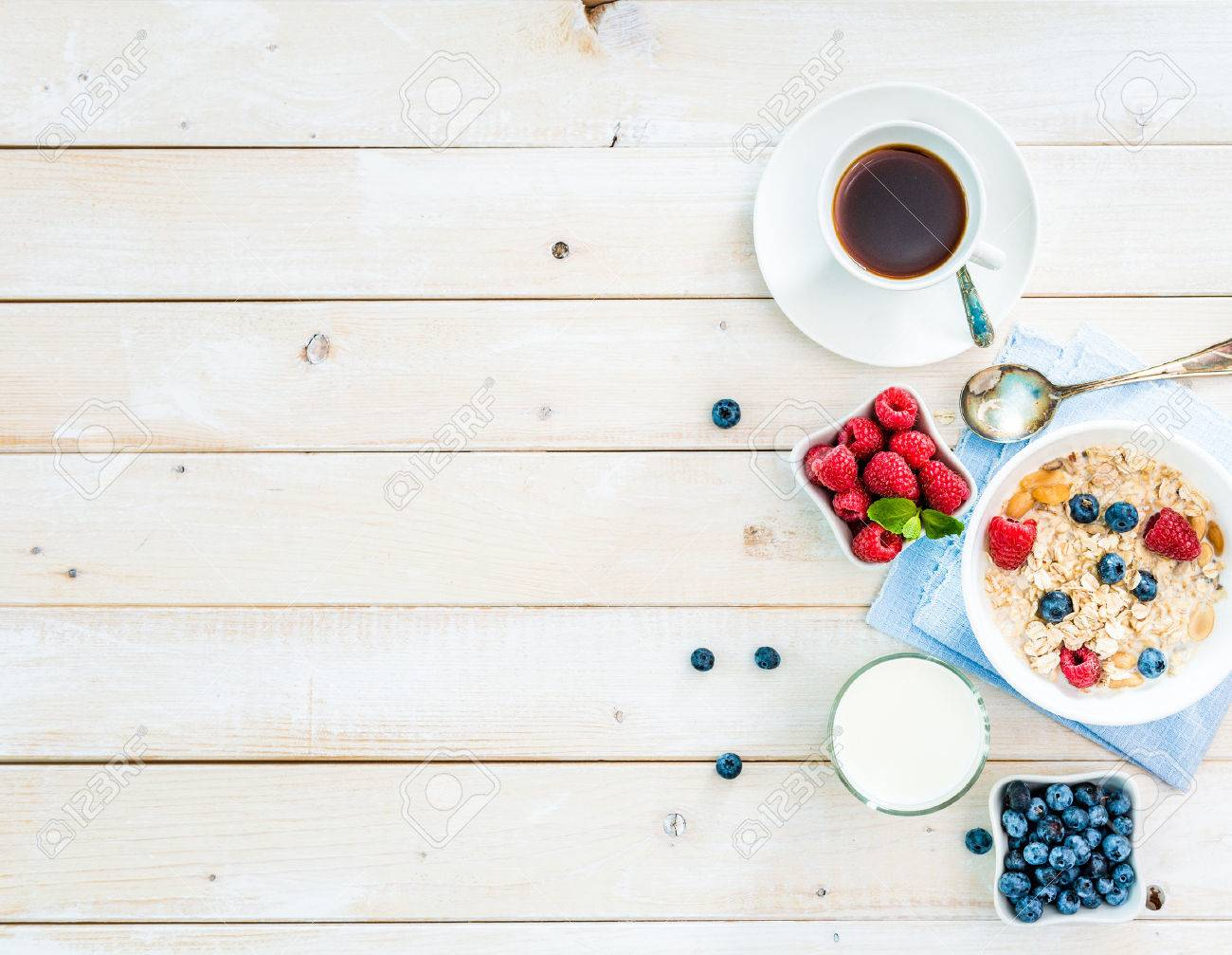 healthy breakfast with text space top view - 47389289
