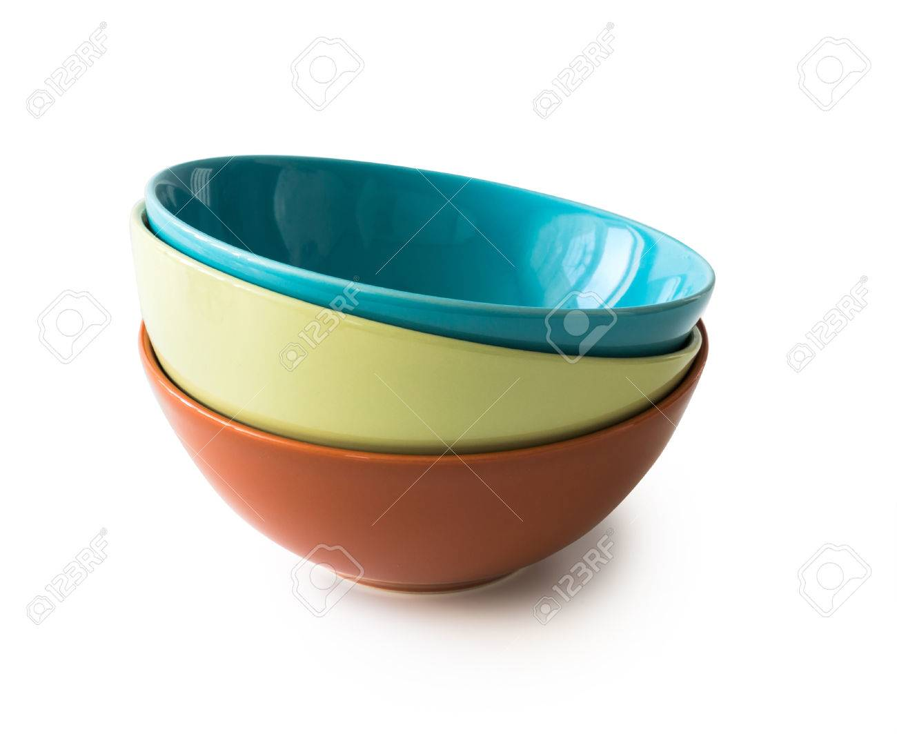 set of new colorful bowls isolated on white background - 48087826