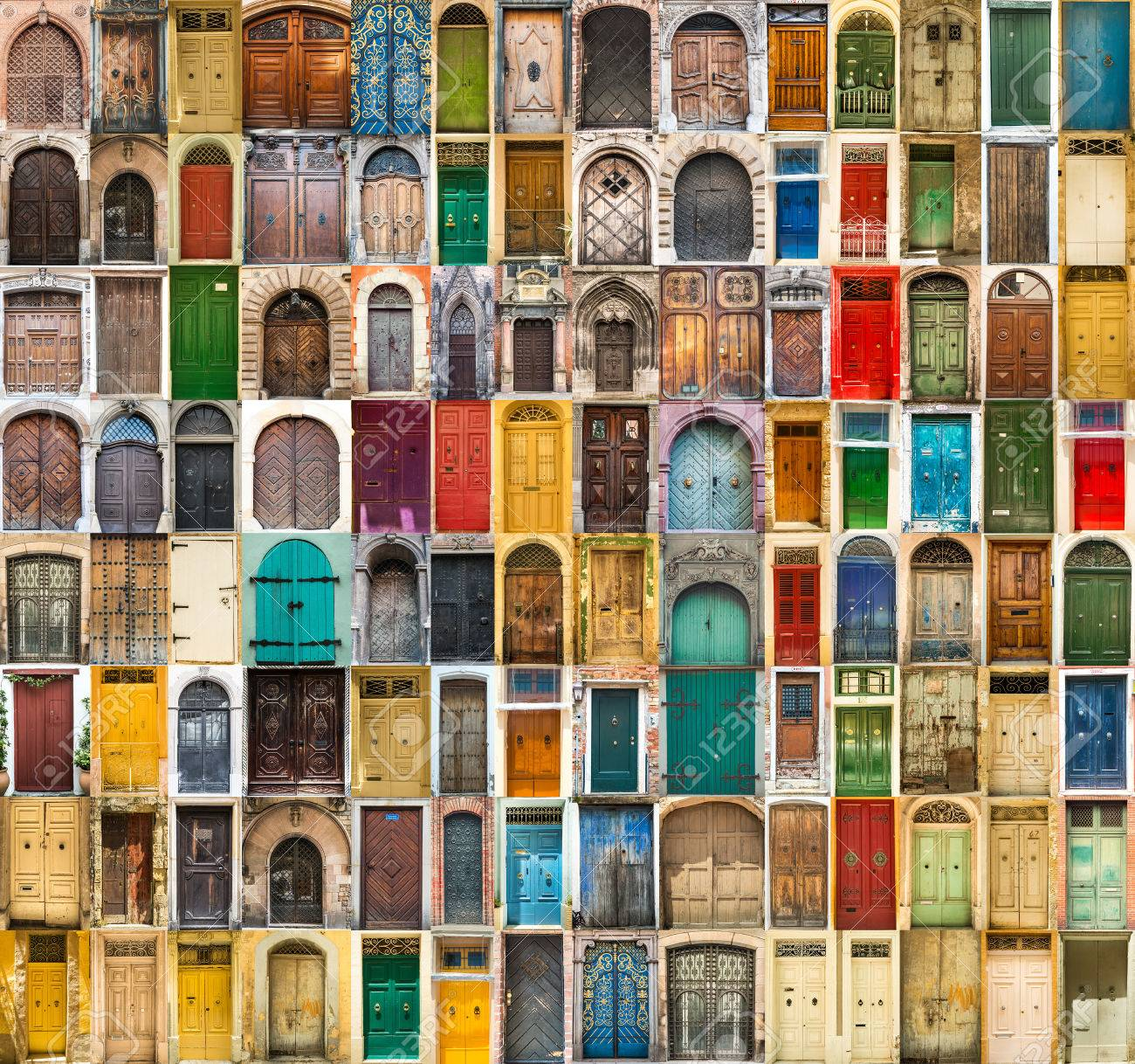 set photos of doors on the old districts of Europe - 49147355