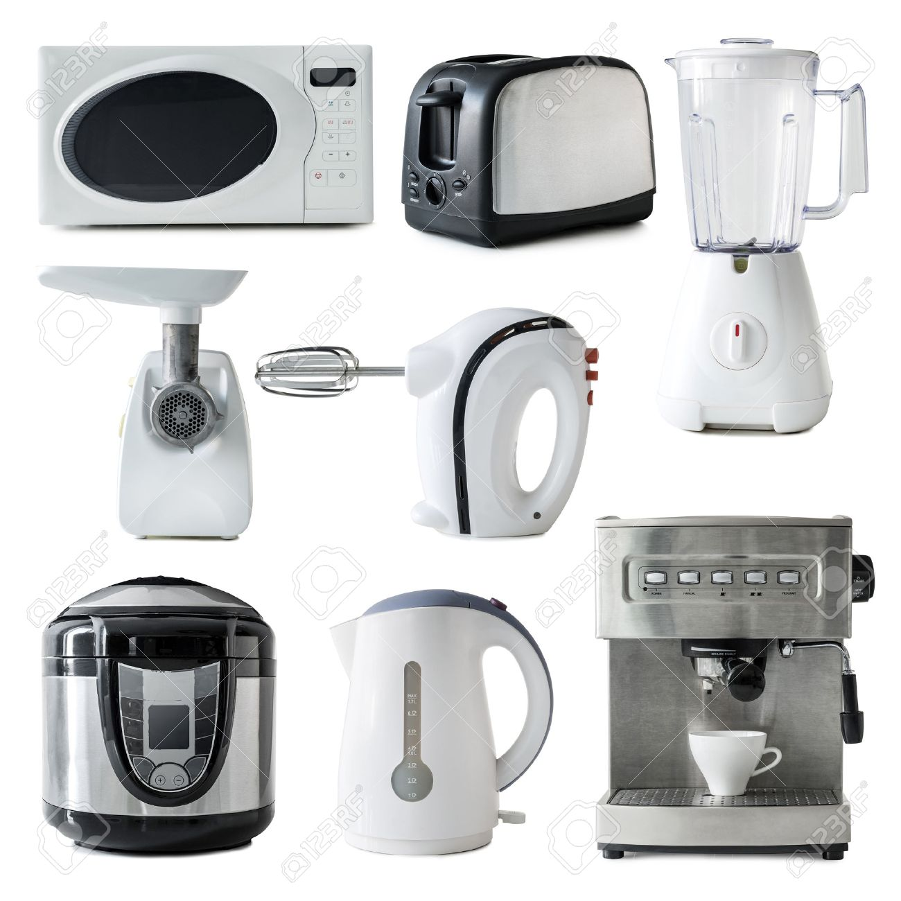 collage of different types of kitchen appliances isolated on white background - 50031799