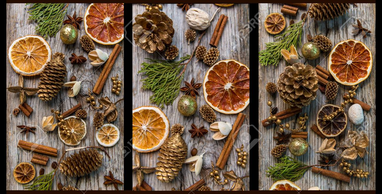 Christmas Decorations With Cinnamon And Dried Orange Slices Stock