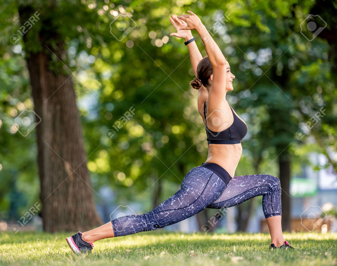Girl doing yoga at nature - 172489914