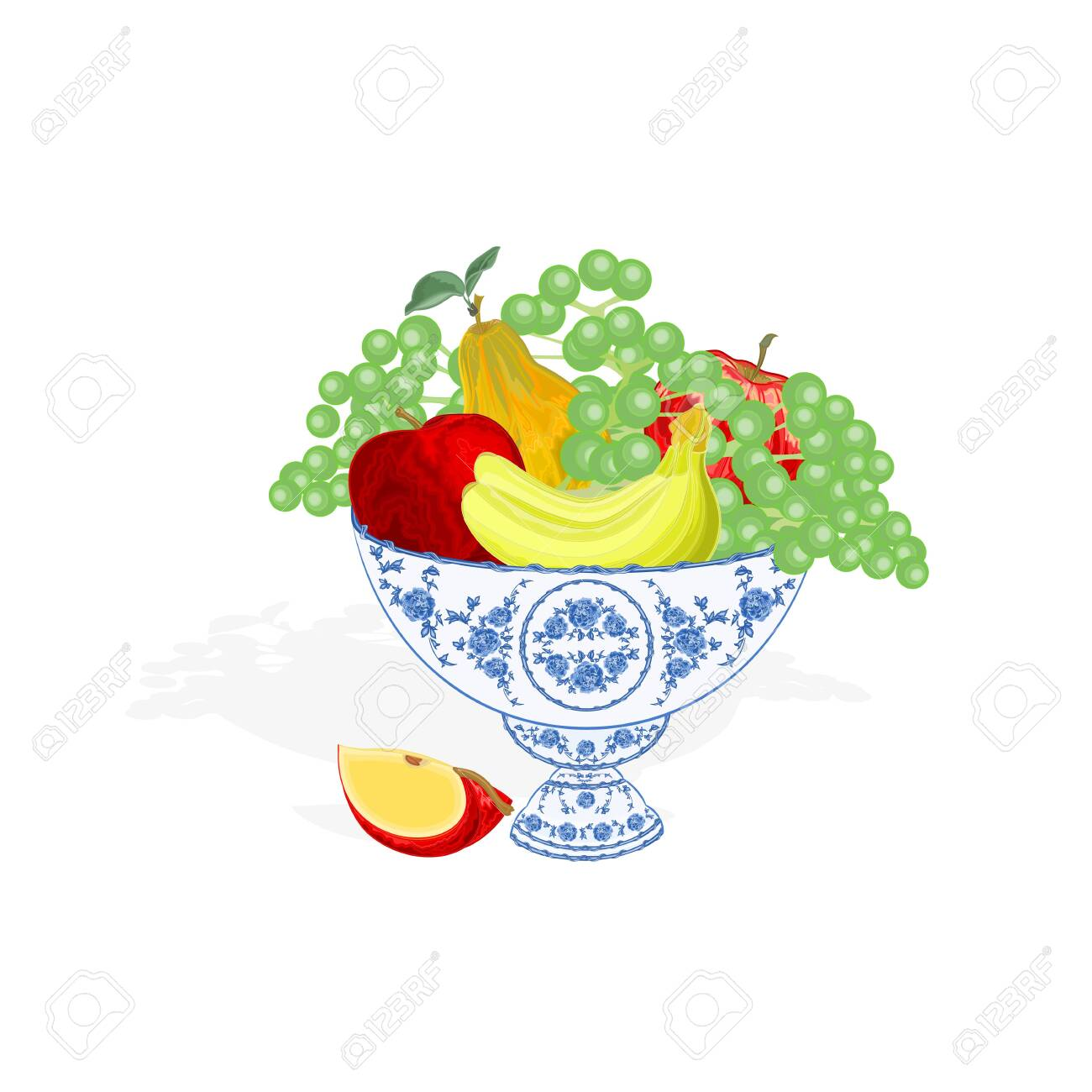 faience bowl blue color with fruit apple peach grapes bananas vector stock vector 29863190 - Faience Colore
